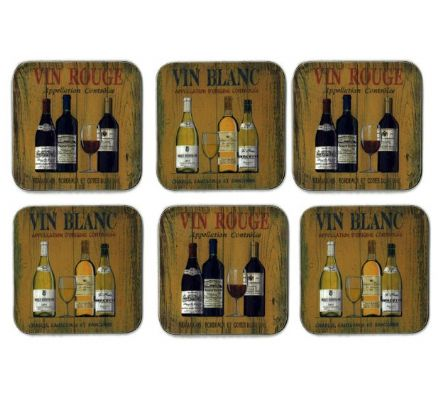 Martin Wiscombe Vin Rouge & Blanc Wine Coasters Set